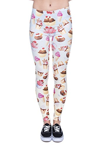 Fringoo Yoga-Leggings für Damen, enganliegend Ice Cream Cup