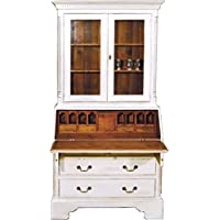 Casa-Padrino Vintage Secretary Cabinet Antique Style White/Wood Colors H 210 x W 110 cm - Cabinet Shelf Cabinet Shabby Chic Hotel Furniture - Comparador de precios