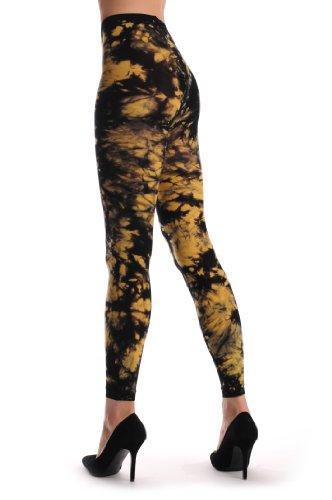 r Splash (Tie Dye) Footless - Gelb Blickdicht Netzstrumpfhose Ohne Fuß (Leggings) Einheitsgroesse (34-42) (Tie Dye Strumpfhose)