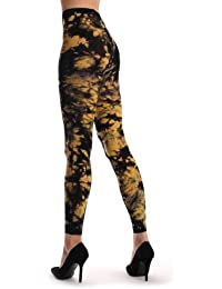 Black & Yellow Colour Splash (Tie Dye) Footless - Jaune Opaque Collant Sans Pied (Leggings) Taille Unique (34-42)