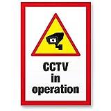 CCTV Kunststoff Schild (30 x 20 cm) - Achtung/Vorsicht Videoüberwachung - Hinweis/Hinweisschild Videoüberwacht - Warnschild/Warndreieck