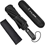 FYLINA Windproof Travel Umbrella Folding Umbrella-AUTO Close AUTO Open- Lightweight Compact Umbrella with 210T Fast Drying Coating, Easy-Carrying Case and Slip-Proof Handle 105cm 370g