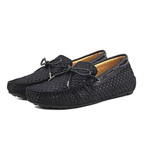 Shenduo - Mocassins pour homme cuir - Loafers confort - Chaussures de ville D7166 Noir