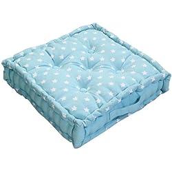 Homescapes 'Star Azul Asiento Cojín, 100% algodón, cojín de Suelo, Cuadrado. Colores: Azul, Color Blanco. Adecuado para Barrer, Muebles de jardín, sillas y sillones, algodón, Azul, 40 x 40 cm