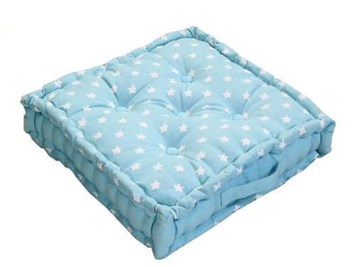 """Homescapes '""""Star Azul Asiento Cojín, 100% algodón, cojín de Suelo, Cuadrado. Colores: Azul, Color Blanco. Adecuado para Barrer, Muebles de jardín, sillas y sillones, algodón, Azul, 40 x 40 cm"""