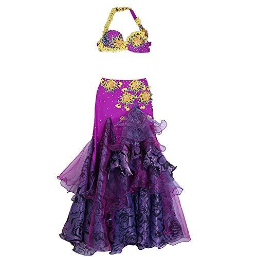 Taidallo Sexy Bauchtanz BH Gürtel professionelle Bauchtanz Kleid Bauchtanz Kostüm Bühnenperformance (Farbe : Lila, Größe : XL) (Farbe Lila Kostüm)