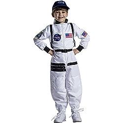 Dress up America Atractivo traje espacial de astronauta blanco para niños