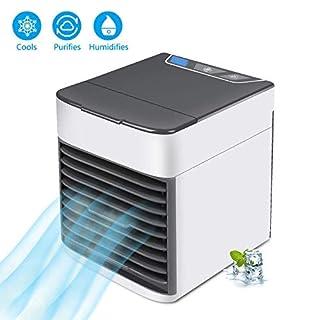 Ventilateur de refroidisseur d'air personnel, climatiseur portatif, purificateur 3 dans 1 refroidisseur par évaporation, mini ventilateur de bureau de refroidissement à CA USB pour chambre à coucher