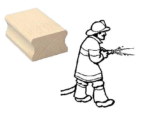 Timbro timbro in legno, motivo: « Pompiere