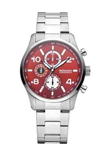 Rodania Herren-Armbanduhr Classics Motola mit Armband aus Stahl, silberfarben, Durchmesser 42 mm - 2625844