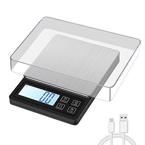 MOSUO Báscula de Cocina Digital con Carga USB, Balanza de Precision 3 kg/0.1g Balanza de Alimentos, Escala de Bolsillo Escala de Joyería con Pantalla LCD y función de Tara(Baterías Incluidas)