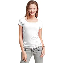 FASHION LINE Women's White Short-Sleeve T-Shirt (Medium)
