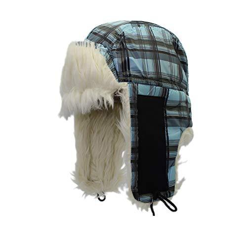 Amorar Unisex Wintermütze mit Ohrenklappen Trapper Aviator Hut Kunstpelz Beanie Jagd Hut Plaid warme Winddichte russische Hüte,EINWEG Verpackung Plaid Trapper