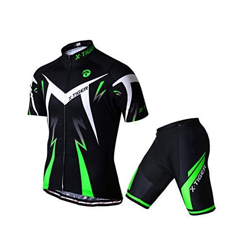 X-TIGER Hombres de Bicicleta Manga Corta Shorts Top Maillots con 5D Acolchado Gel MTB Ciclismo Pantalones Cortos (Verde,XL)