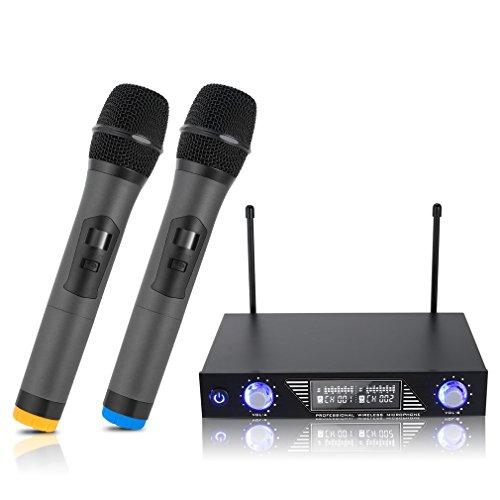 LESHP Wireless Mikrofon, UHF Wireless Mikrofon System Dual 2 Handmikrofon Mikrofone mit Dynamischen LCD Display Tragbare Professionelle Home KTV Set für Karaoke, Party, Konferenz, Hochzeit usw