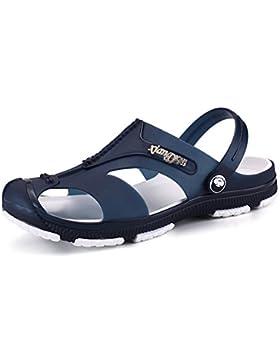 Gartenclogs Unisex-Erwachsene Herren Clogs Schuhe Gartenschuhe Sandalen Slipper Latschen Schwarz Blau
