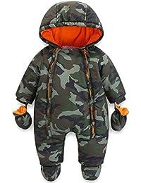 Bébé Combinaison de Neige Hiver Épais Barboteuses à Capuche avec Gants et Chaussons Ensemble de vêtements 3-24 Mois