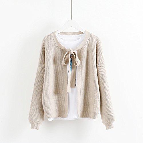 LGK&FA Eine Strickjacke Strickjacke Fell Kurz Langarm Knit Cardigan Jacke Süße Herbst Krawatte Größe (Für 85-135 Pfund) Light Khaki (Kleid Stricken Zurück Krawatte)