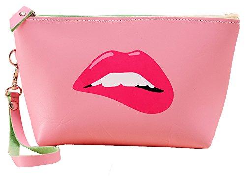 Mode Portable Trousse de Maquillage Pochette de Maquillage pour Filles Dames Sac Cosmétique avec Fermeture à Glissière Imperméable à l'eau PU Organisateur de Cosmétiques Sac de Toilette Accessoire de voyage - Rose-lèvres de rouge