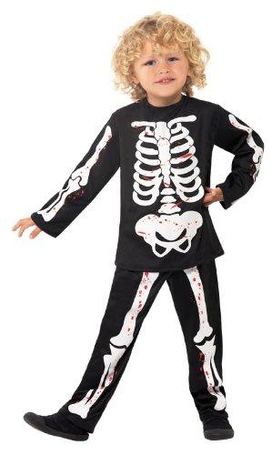 Skelettkostüm Kinder Skelett Gerippe Anzug Kostüm Halloween 3-4 J Gr. (Anzug Kind Kostüme Skelett Schwarz)