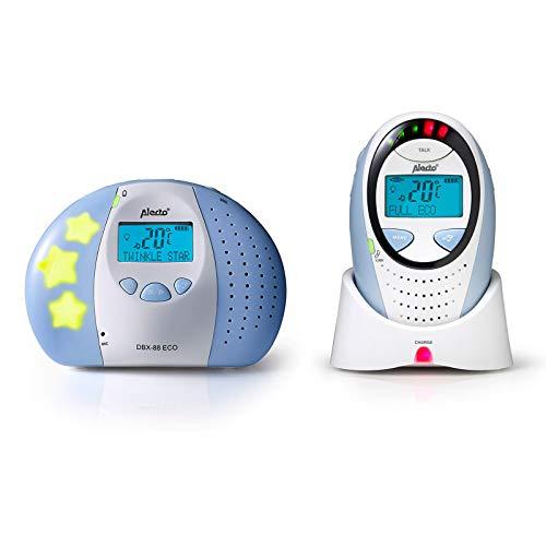 Alecto DBX-88 Eco DECT Digitales Babyphone hohe Reichweite bis zu 300 m. (100% störungsfrei), Gegensprechfunktion, Nachtlicht, Temperaturanzeige mit Alarm, LED-Geräuschanzeige und 5 Schlaflieder