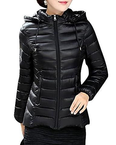 Femmes Parka à capuche Longue Manteau Doublée Manteaux Veste matelassée Noir XXXL