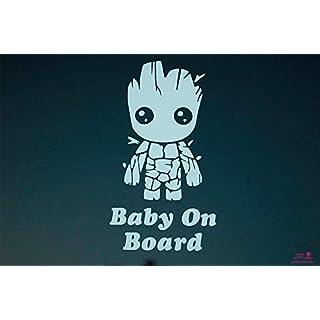 Artstickers Aufkleber Baby on Board Groot, Aufkleber Bebe an Bord. Weiß Geschenkaufkleber Spilart, eingetragene Marke.