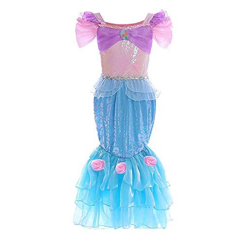 Pink Kleid Kostüm Ariel - QYS Mädchen Kleine Meerjungfrau Kostüm Flügelärmel Pailletten Skalen Bedrucktes Kleid Fischschwanz Rock 3-7 Jahre,pink&Blue,130cm