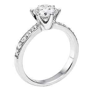 Diamant Ring 0.70 Ct W F/SI3 Round 18 Karat (750) Weißgold (Ringgröße 48-63)