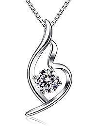 B.Catcher Collier blanc en Argent 925 Zirconium cubique Pendentif diamanté Chaîne italienne Cadeau La fête des Mères Saint-Valentin Femmes bijoux