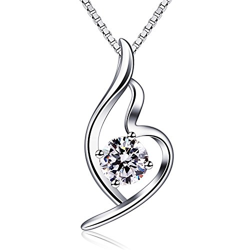 B.Catcher Halskette Damen 925 Sterling Silber Anhänger Kette ''Erste Liebe'' Schmuck Zirkonia 45CM Kettenlänge Valentinstag Geschenk -
