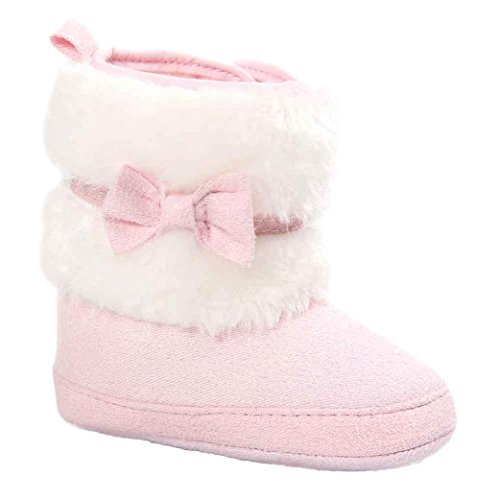Tefamore botas niños,Zapatos de nieve suave y suave (Longitud: 11CM, Rosa)