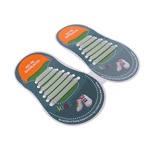 D DOLITY Elastische Silikon Schnürsenkel – flexibler Schuhbänder Ersatz ohne Binden - Kinder - Im Dunkeln wachsen, wie beschrieben