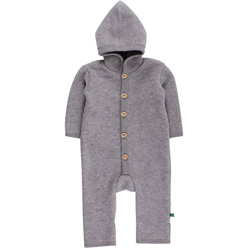 Fred's World by Green Cotton Baby-Jungen Anzug Wool Fleece Suit with Hood, Grau (Pale Greymarl 207670000), 80 (Herstellergröße: 80/86)