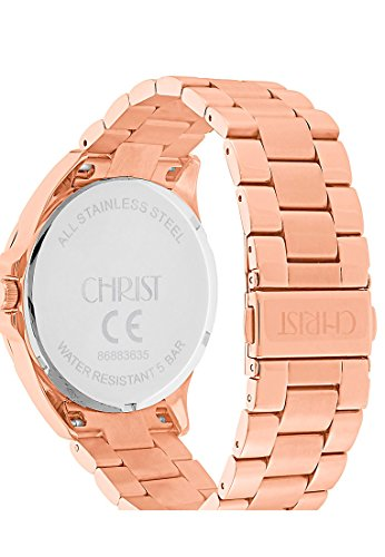 CHRIST times Damen-Armbanduhr Analog Quarz One Size, blau, rosé -