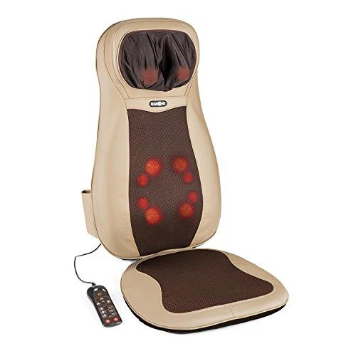 Klarfit Niuwe Massagestuhl Auflage Massage Sitzauflage für Rücken, Nacken und Gesäß (4 Massagekopfpaare, 3 Vibrations-Intensitätsstufen, zuschaltbare Wärmebehandlung) braun