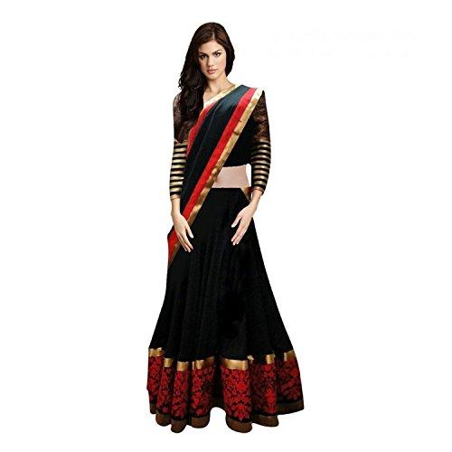 JDS Fashion Woman's Red & Black Color Georgette Semi Stitched Lehenga Choli...