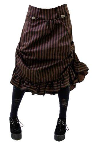 Authentic Steampunk Vittoriano Ruffle orlo nascosto a righe Gonna Black & Old Copper Brown 44