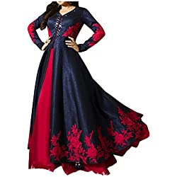 Royal Export Women's Bangalori Blue & Red Anarkali Semi-Stitched Salwar Suit