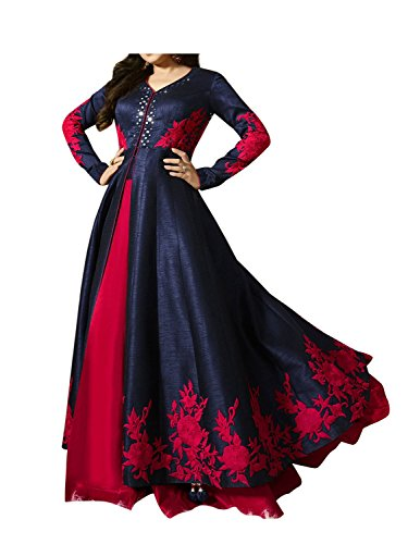 Royal Export Women's Bangalori Blue & Red Anarkali Semi-Stitched Salwar Suit