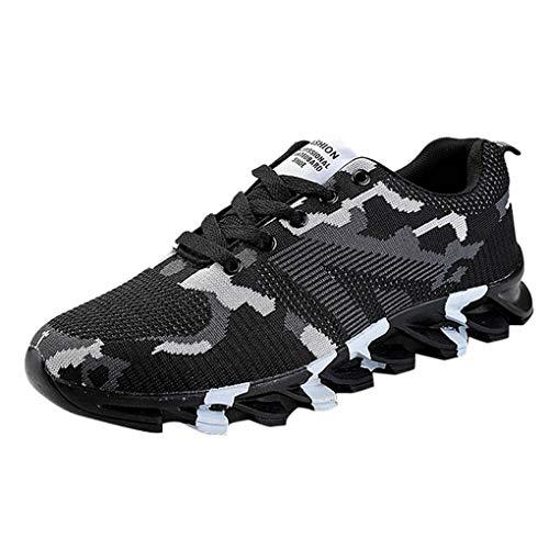 Dorical Damen Herren Sneakers Freizeitschuhe Sportschuhe Laufschuhe Ultraleichte Air Wanderschuhe, Mode Fitness Flyknitted Trainers Running Shoes Rutschfest Bequem Gymnastikschuhe(Grau,42 EU)