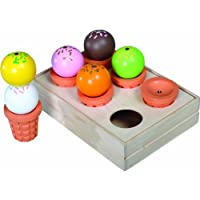 Santoys - Wooden Toys - Food & Shop Role Play - Ice Cream Cones In A Crate