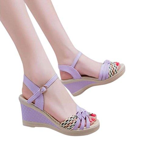ZARLLE Plataforma Sandalias Mujer Cuero CuñA Confort Peep Toe TacóN Zapatos Para Caminar Playa Sandalias Del Verano Bohemia Casual Del TalóN Bajo (38, Púrpura)