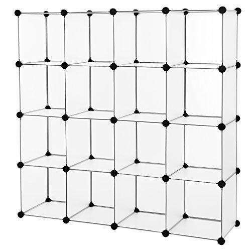 SONGMICS Armario Modular Zapatero Estantería Organizador Armario de Almacenaje de Plástico 16 Cubos sin Puertas para Ropa Juguetes Bolsos Blanco LPC44L