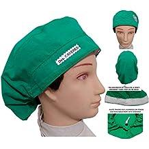 GORRO QUIROFANO Verde Corazon para pelo largo, Zona de la frente con toalla. Tensor