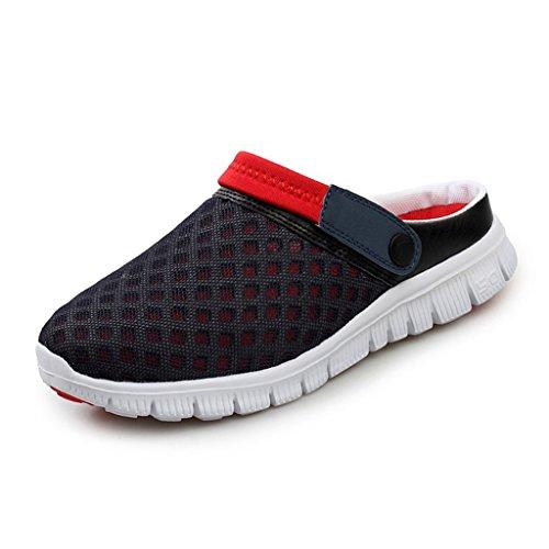 Unisexo Hombres Zapatos Mujeres Sandalias Malla Ponerse Zapatos Zapatillas Antideslizante Playa para Caminar Verano Enfermería Zapatos Respirable Mulas Rojo 42 Yying