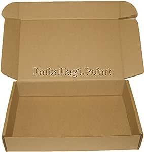 Bianco, Set 5 Pezzi Set Made in Italy Scatole Fustellate in Cartone Micro Onda Robuste per Spedizioni Imballaggio Organizzazione Casa Regali Natale Colore qualit/à 21 x 21 x 7 H cm