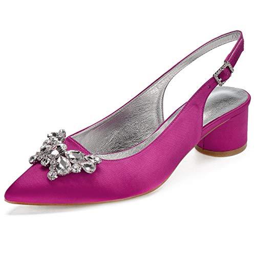 6ac902b945 Charmstep zapatos de novia para mujeres puntiagudo tacón de bajo satín  bombas de noche 8555-