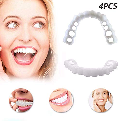 Zähne Prothese Perfect Smile Snap-On Braces Instant Perfekte Smile Comfort  Fit Flex Zähne Veneers Einheitsgröße Bequemes Deck- Und Bodenfurnier,4PACKS