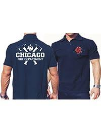 Polo bleu marine, Chicago Fire Department avec haches et emblème CFD